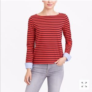 J.Crew Cuffed Striped Boatneck Shirt Size XL
